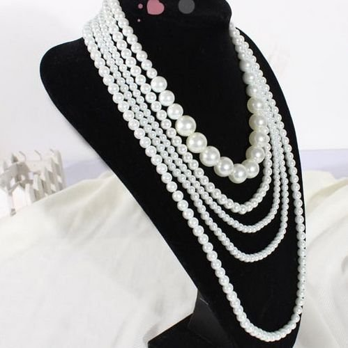 Sheegior Bijoux Jewelry Elegant Beautiful simulated pearl Multilayer Tassel chains women pendant necklaces Free shipping