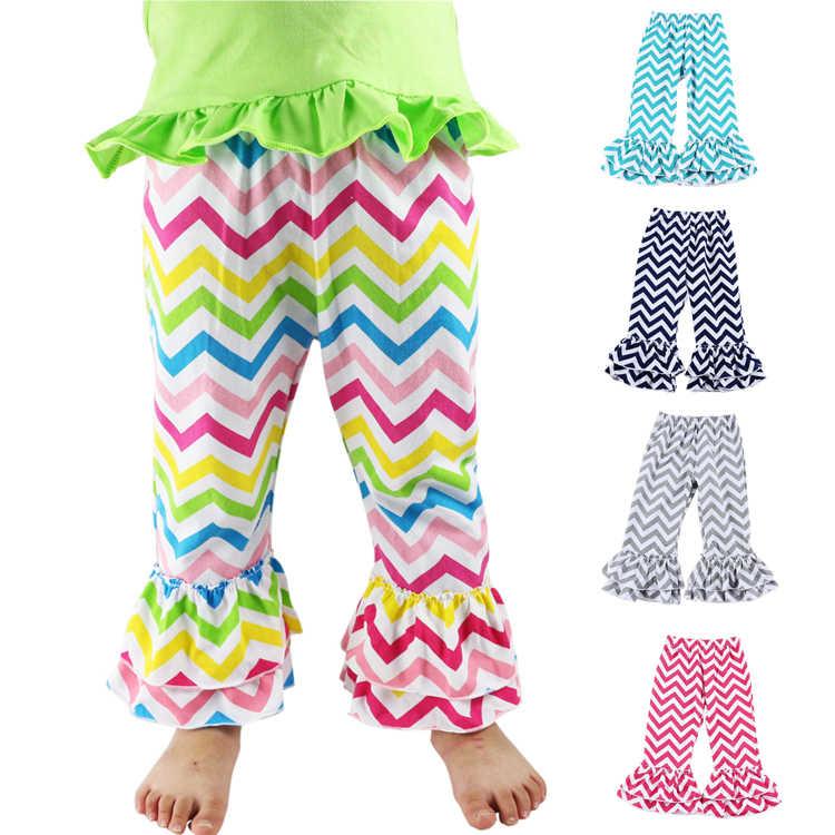 Meninas chevron plissado calças, zig zag algodão bebê babados calças, calça da menina, calças de algodão para bebês menina calças longas
