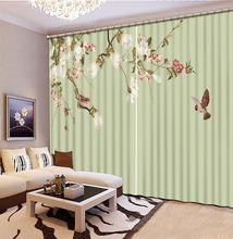 Home Decor Living Room Natural Art freshness flower 3D Window Curtains For Bedding room