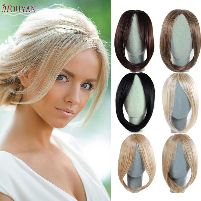 HOUYAN Fashion Long Clip In On Front Hair Bang Side Fringe Hair Extension Real Natural Synthetic Bangs Hair Piece