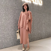 2019 Autumn Winter Women Knit Wool Blends Cardigan Coat Knitwear Jackets+two piece Sleeveless knit Dress set