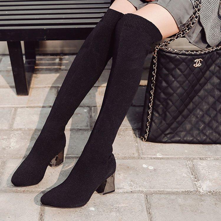 sur Mode Talon De Slip Couture Noir Solide the Hiver Chaussures genou Haute Carré La Longues Bout Pour À Décontracté Automne Femmes Bottes Pointu Over 0k8wPnXO