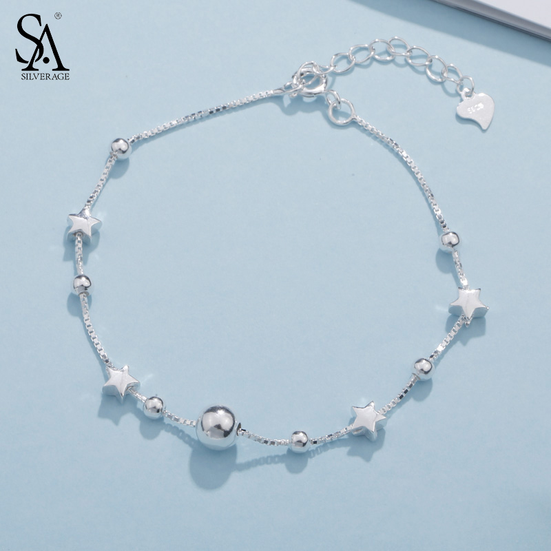 SA SILVERAGE 925 Sterling Silver Charms Bracelets Bangles for Women 925 Silver Star Ball Chain Link Bracelets Pulseira FemininaSA SILVERAGE 925 Sterling Silver Charms Bracelets Bangles for Women 925 Silver Star Ball Chain Link Bracelets Pulseira Feminina