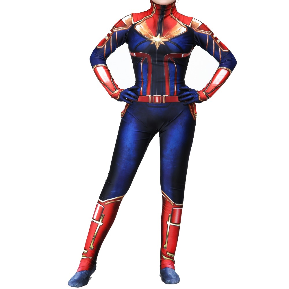 New 3D Adult Kids Movie Captain Marvel Carol Danvers Cosplay Costume Superhero Zentai Bodysuit Suit Jumpsuits Women Halloween