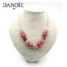 Dandie Trendy Red Blue Purple Acrylic Bead Necklace, For A Womans Daily Wear,Fit Party