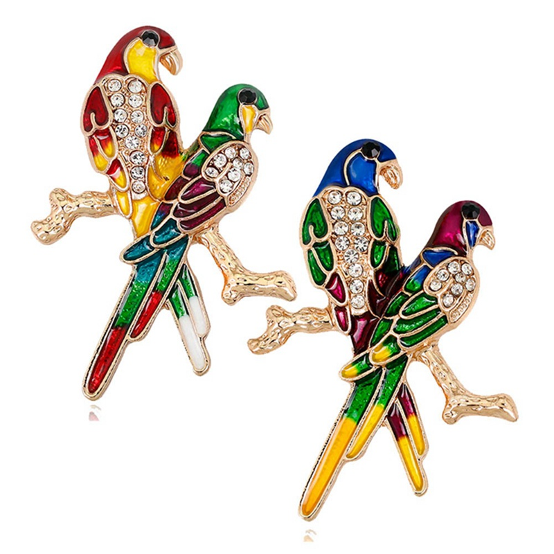New Fashion Style Red And Green Enamel Couple Parrots For Women And Men Alloy Birds Party Weddings Banquet Brooch Gifts