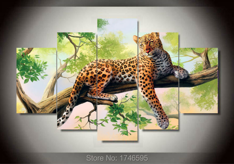 5pcs Abstract Living Room Home Decor Wall Art Picture Printed Leopard Lying Green Tree Oil Painting