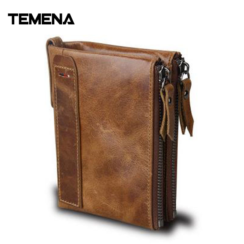 Temena 100% Genuine Leather Men Wallet Small Zipper Men Walet Portomonee Male Short Coin Purse Perse Carteira ForRfid AWL039