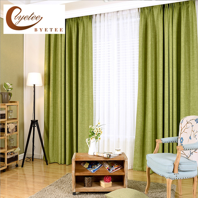 [byetee] Modern Cotton Linen Window Curtain Shading Cloth Custom For Living  Room Bedroom Curtain