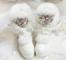 2017 Réel De Fourrure De Lapin D'hiver Bottes Strass Diamant Bottes de Neige Chaud Épais de Haute-Top Femmes Chaussures Grande Taille 41 Bottes d'hiver