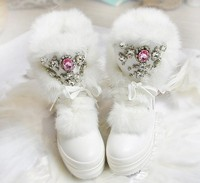 2017 Real Rabbit Fur Winter Boots Rhinestones Diamond Snow Boots Thick Warm High Top Women Shoes