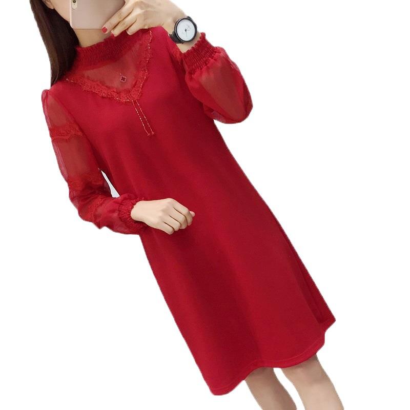 Automne Une Sukienki Ligne Moulante A Pull B Manches Damskie Dentelle Boho model Vêtements Plage Robe Femmes À Coréenne Model D'été Midi Pour Longues z8vxnp