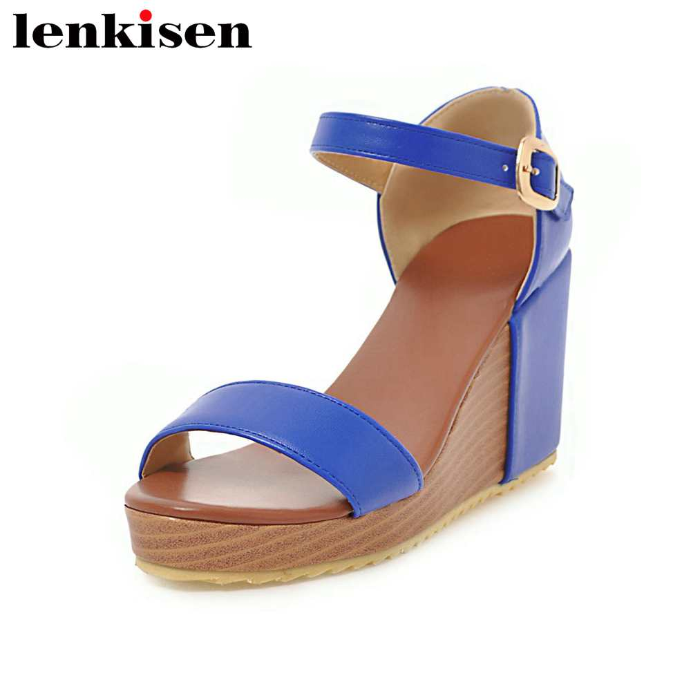 Lenkisen summer buckle strap solid peep toe large size hollywood movie stars high wedge bottom runway party women sandals L20