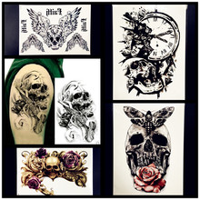Fashion Henna Waterproof Temporary Tattoo For Men Lower Arm Body ART Fake Tattoo Stickers 21x15CM Skull Clock Women Flash Tatoo