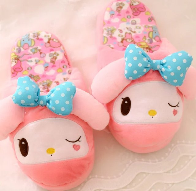 Plush cute 1 pair cartoon love heart my melody funny winter home floor slippers warm holiday