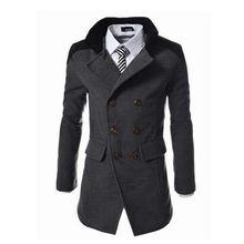 Мужское двубортное пальто Длинная зимняя куртка с отложным воротником