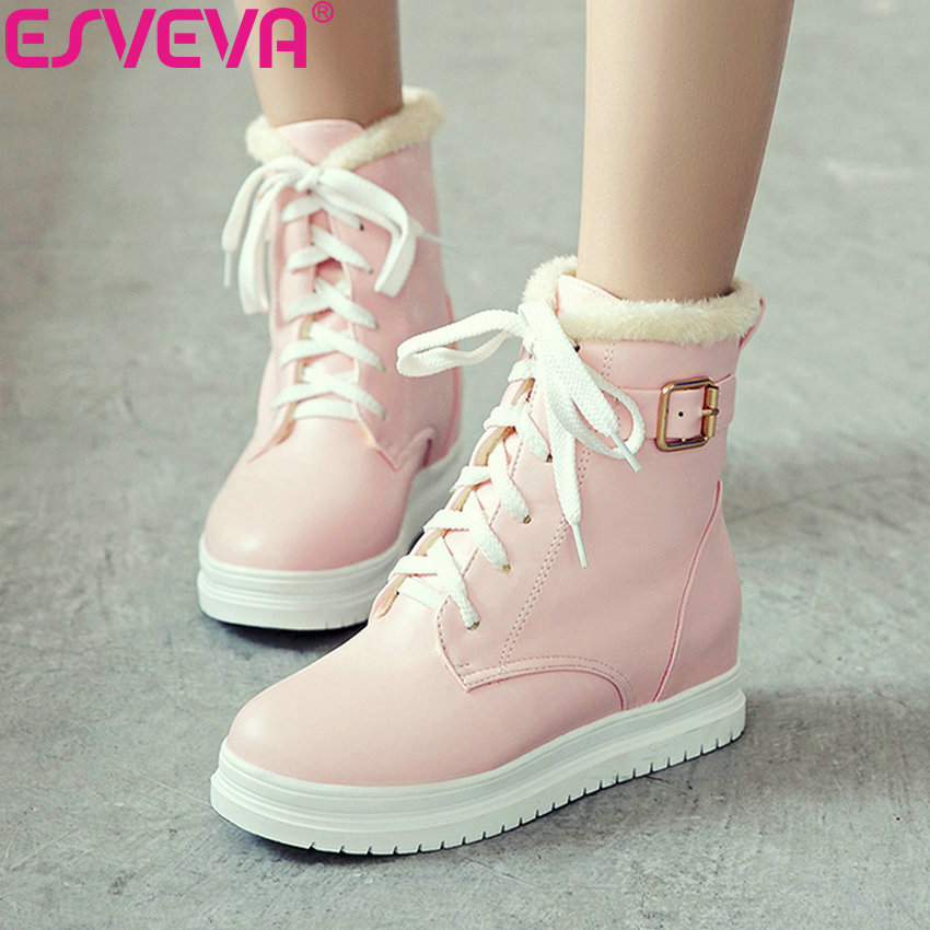 ESVEVA 2019 Women Shoes Ankle Boots Platform Round Toe Med Heels Winter Boots Lace Up Height Increasing Snow Boots Size 34-43 esveva 2019 women shoes mid calf boots round toe med heels winter boots short plush slip on height increasing snow boots 34 43
