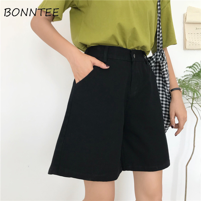 Denim Shorts Women Solid Pockets Zipper Loose All-match Korean Style Womens Wide Leg Casual Students Summer Fashion Breathable