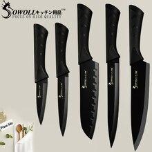 SOWOLL кухонный нож шеф-повара ножи Аксессуары 8 дюймов японский высокоуглеродистая Нержавеющая сталь овощной Santoku кухонный нож инструменты