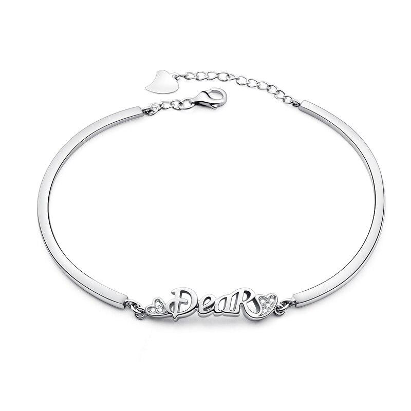 100% стерлингового серебра браслет и Браслеты для Для женщин девочек новая мода AAA циркон регулируемый браслет подарок на день рождения