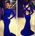 2016 Hot venta sirena vestido de fiesta barato azul rojo negro blanco Color disponible piso longitud de cuello alto mangas largas vestidos de fiesta ZY175