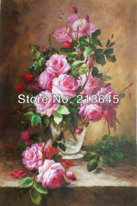 Museum quality handpainted impressionist rose flower oil for How to oil paint flowers