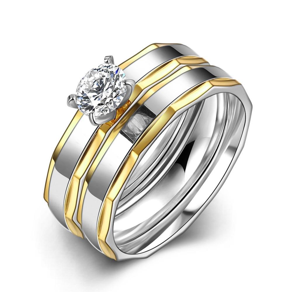 R067 2016 Одежда высшего качества Титан позолота Luckly Bamboo камень циркон Тонкий Титан Сталь Для женщин Для мужчин свадебные украшения кольцо