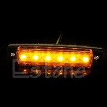2X 6-LED 12V Bus Van Boat Trailer Truck Side Marker Tail Light Lamp Yellow/Amber