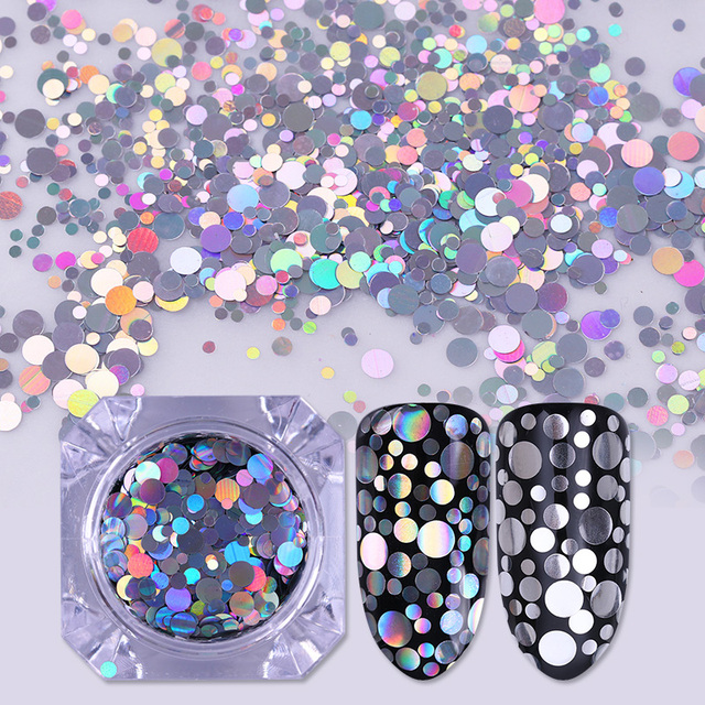 1.5g Holographic Silver Nail Flakies Round Nail Sequins Glitter Paillette 1mm 2mm 3mm Nail Art Sequins Manicure Nail Decors