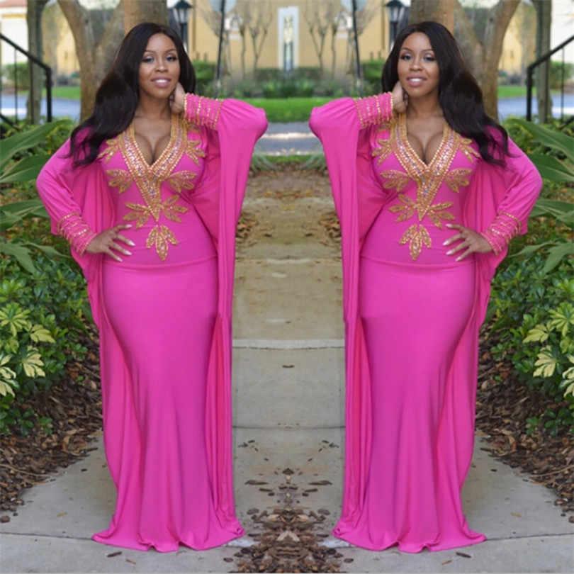 Африканская Дашики Платье Riche для женщин Африканский стиль печати v-образным вырезом рукав летучая мышь платье тонкое платье NZ6146