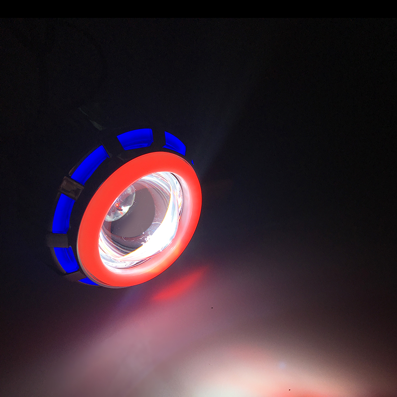 12 В светодиодные лампы фар Hi/Lo луч объектив проектора фар комплект с Ангельские глазки дьявол Средства ухода для век для мотоцикла 8000 К 1200lm п...