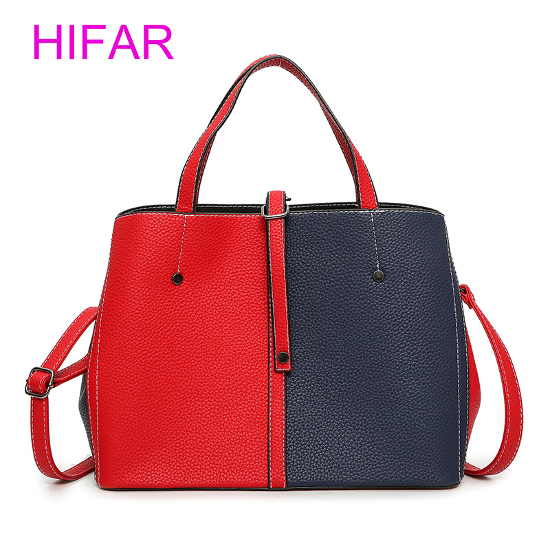 HIFAR 2018 Luxury Brand Hit Color PU Leather Women Handbags Famous Design Women Messenger Bag Laides Fashion Bolsa Feminina