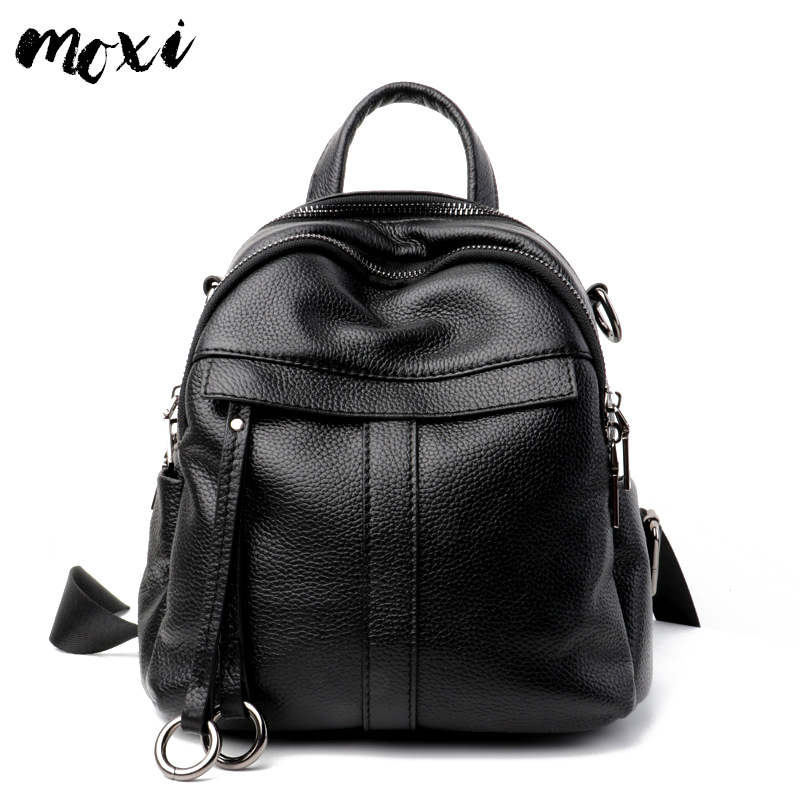 Moxi Women Backpack All-match Female Daily Daypack Genuine Leather Casual School Backpack For College Students Shoulder Bag