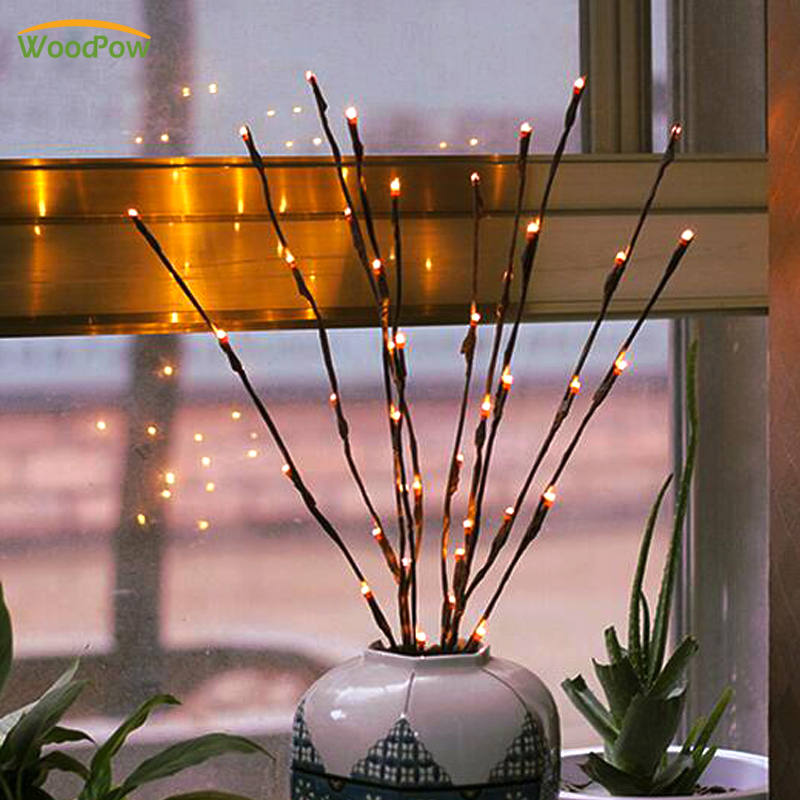 WoodPow LED Sakura Floral Light Willow Branch Lamp Lights 20 Bulbs Fairy Battery Powered Christmas Party Vase Decoration Gift