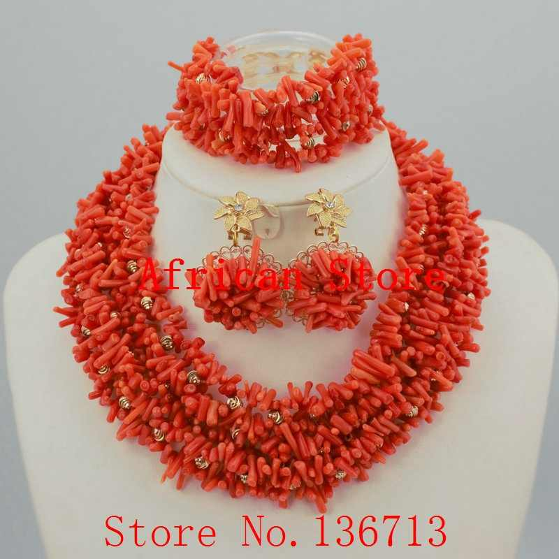 2016 Coral Bead Sets Jewelry Latest Design Nigerian Beads Necklace Set Bridal Jewelry Set Free Shipping HD326-3