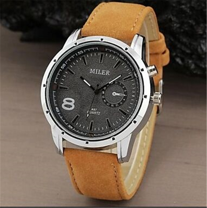 Men's watch pu Leather Sports Quartz Watches Out Door Fashion Watch New Style leisure Wristwatch Round Dial Masculino Relojes 1children time sports watch leisure new 5per ytl0815 ttb01