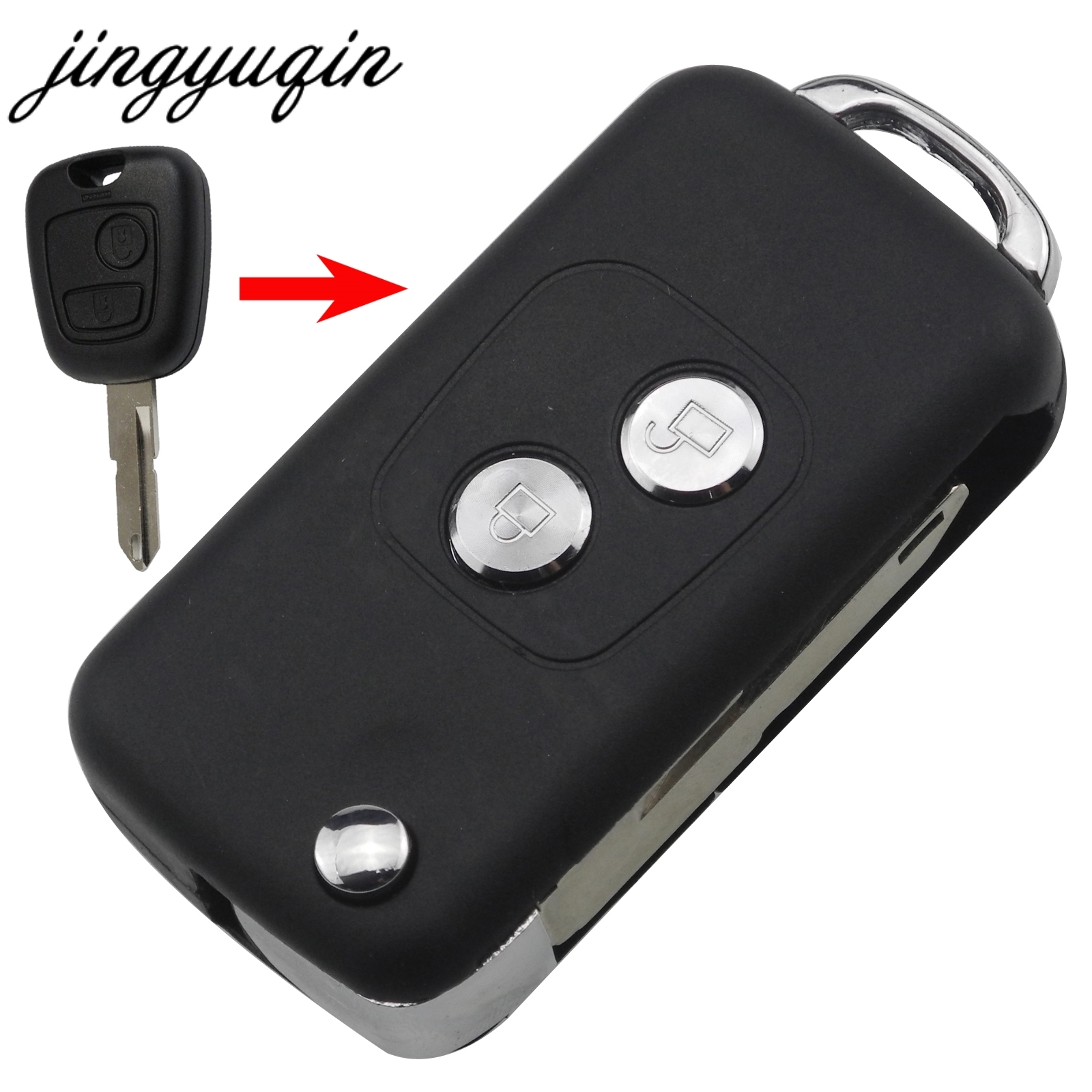 jingyuqin 20pcs lot 2 buttons Modified Flip Folding Key Fob Case for Peugeot 206 207 Citroen