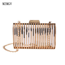 2019 Personality box ladies handbag metal evening bag girl purse fashion party clutch