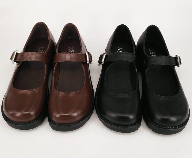 Biamoxer Japanese School Students Uniform Shoes Uwabaki JK Round Toe Buckle Trap Women Girls Lolita Cosplay