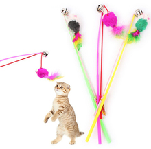 Funny Cats Stick Toys Pet Dog Kitten Bell Play Toy Fun Candy Colored Velvet Dangle False