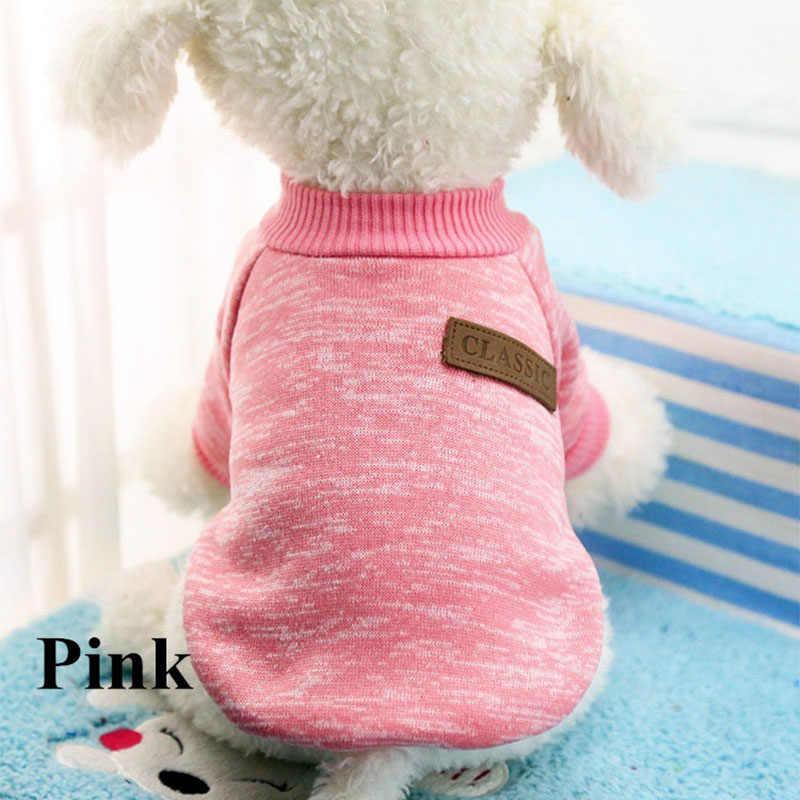 Klasik Hangat Anjing Pakaian Anak Hewan Peliharaan Kucing Pakaian Sweter Jaket Mantel Musim Dingin Fashion Lembut untuk Anjing Kecil Chihuahua XS-2XL