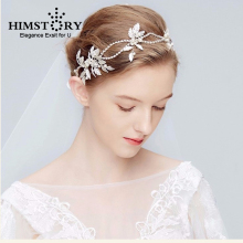HIMSTORY Leaves Pearl Bridal Tiaras Headband Wedding Hair Bridal Headpiece Handmade Ornaments Hairband Hair Jewelry Accessories