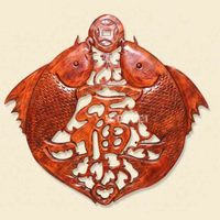 New HJ YS397 Woodcarving Retro Pendant Chinese Style Decoration Antique Furniture Camphor Wood Double Fish Blessing Wall Hanging