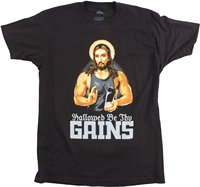 Hallowed Be Thy Gains Funny Muscle Jesus Weight Lifting Work Out Humor T Shirt Stranger Things