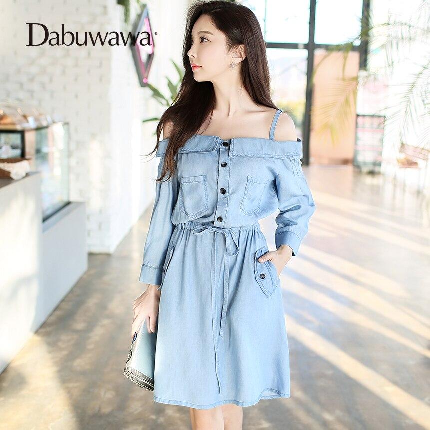 Dabuwawa Blue Spring Slash Neck Jeans Dress Sexy Open Shoulder Paghetti Strap Dress Vintage Denim Dress Party laete l16 143 1
