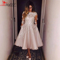 Sheer Homecoming Dresses With Half Sleeve Lace Applique Bateau Tea Length Party Graduation Gowns Champagne Modest