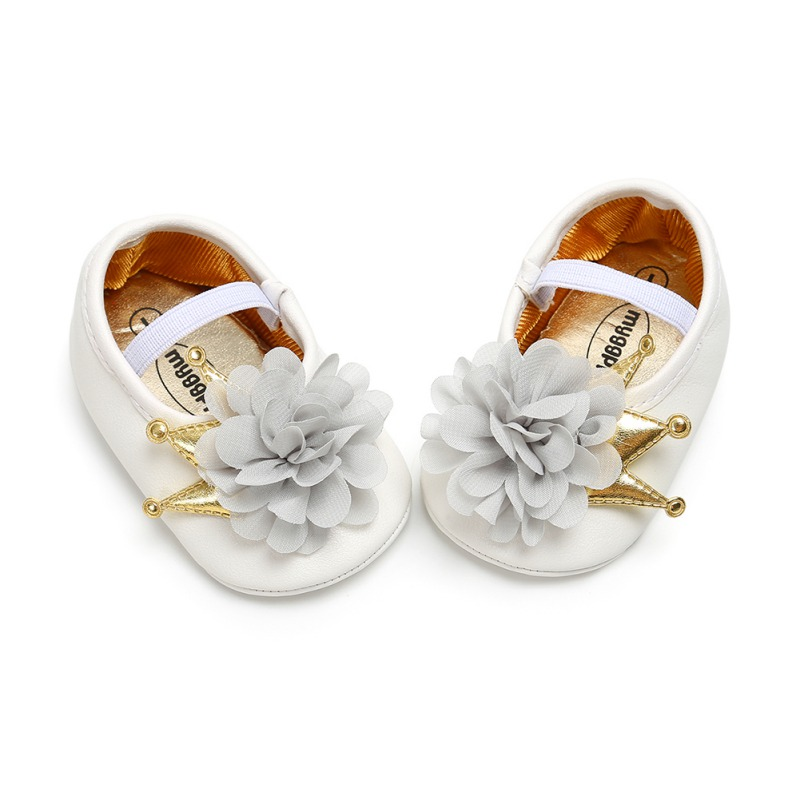 The First Walker Shoes Baby Shoes Beautiful Flowers Crown Princess Models Soft Bottom Toddler Shoes For Baby Girl