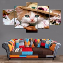 Animal Basket Cat Home Decor Modern Wall Canvas Painting Room 5 Piece HD Print Paintings Art Artwork
