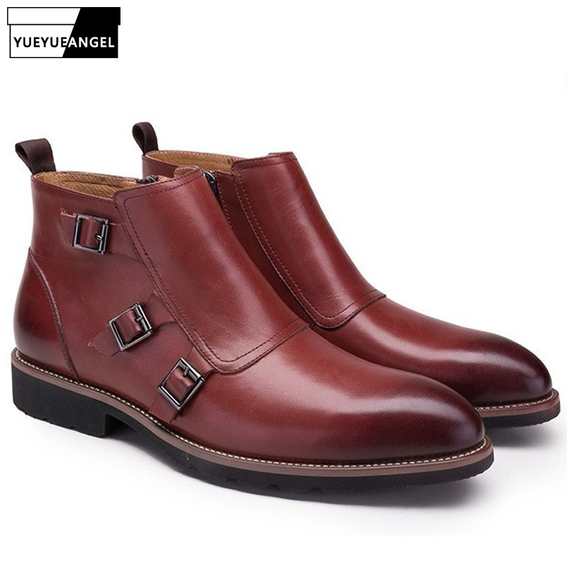 Vintage Mens Buckle Designer Pointed Toe Wedding Dress Boots Office Work Genuine Leather Ankle Boots Business Party Formal Shoes