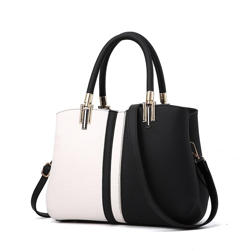 Famous Brand Women Handbag PU Leather Bag White And Black Patchwork Fashion Luxury Designer Crossbody Bags Bolsos Mujer цена